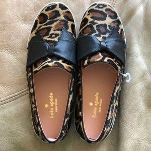 NWOT Kate Spade leopard print bow shoes, 7.5